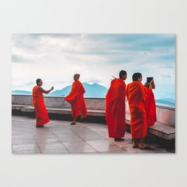 • East Meets West • Monks Taking Photos With I Phone Canvas Print