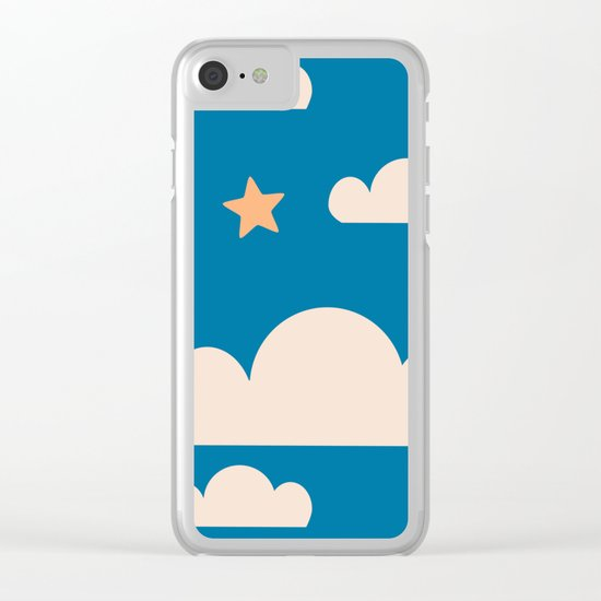 Moon light blue Clear iPhone Case