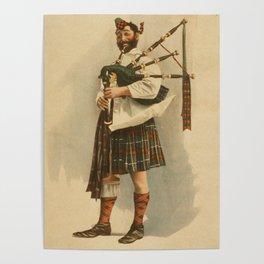 Vintage Illustration of a Scottish Bagpiper (1898) Poster