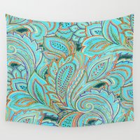 paisley Wall Tapestries featuring paisley, paisley by Ariadne