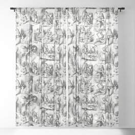 Alice in Wonderland | Toile de Jouy Pattern | Black and White | Vintage Pattern | Victorian Gothic | Sheer Curtain