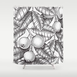 Guava Fruits and Leaves Shower Curtain