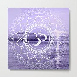 Water Om Mandala Lavender Metal Print