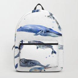 Whales, Whale design, whale wall art, sea, marine aquatic animal art, school learning wall Backpack