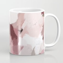 Dark Blush Pink Romantic Red Rose Bouquet Sage Green Leaves Abstract Painting Floral Art Print Wall Decor  Coffee Mug