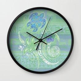 Vintage Hawaiian Tribal Honu Collage Wall Clock