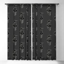 Rustic cowboy with rifle riding horse classic sketch Blackout Curtain