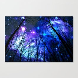 black trees purple blue space Canvas Print