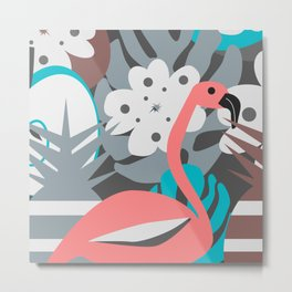 Flamingo, pineapples, flowers Metal Print