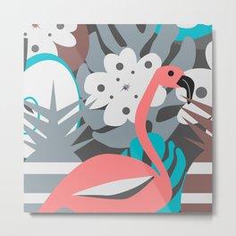 Flamingo, pineapples, flowers Metal Print