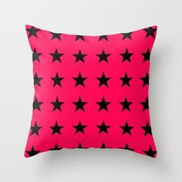 Black Stars on Pink Throw Pillow