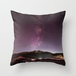 Milky Way Landscape Throw Pillow