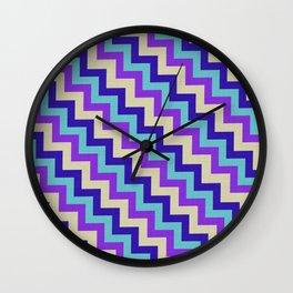Purple Turquoise and white chevron Wall Clock
