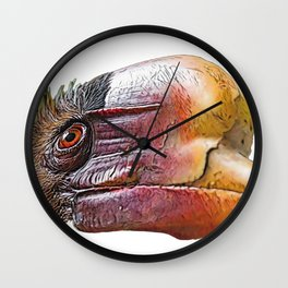 Helmeted Hornbills Face Bird Knob Sticking Out Old Wall Clock
