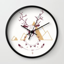 Christmas Geo Deer 2 Wall Clock