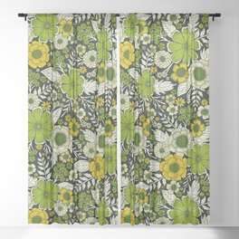 Modern Yellow & Green Floral Pattern Sheer Curtain