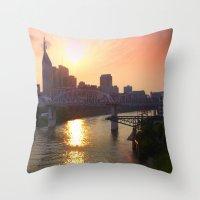 nashville Throw Pillows featuring Nashville Dusk by Andooga Design
