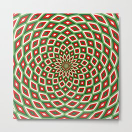 Green, Star White and Red Dome Effect Pattern Metal Print