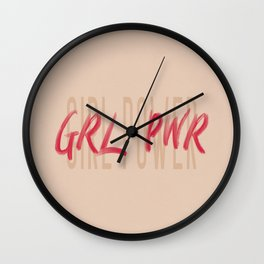 Girl Power GRL PWR - Typography and Lettering Wall Clock