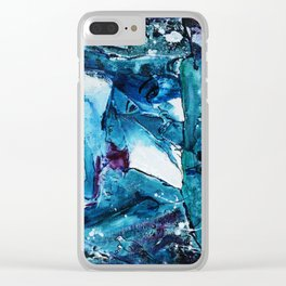 Faces in blue Clear iPhone Case