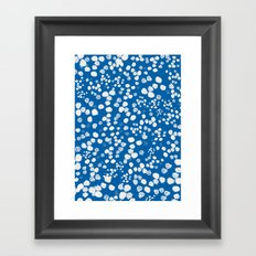 White splashes on blue Framed Art Print