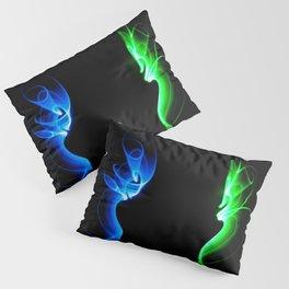 Lightsaber light painting, long exposure green and blue lights black background Pillow Sham