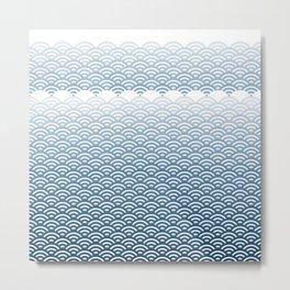 Ocean Japanese Wave Pattern, transparent background Metal Print