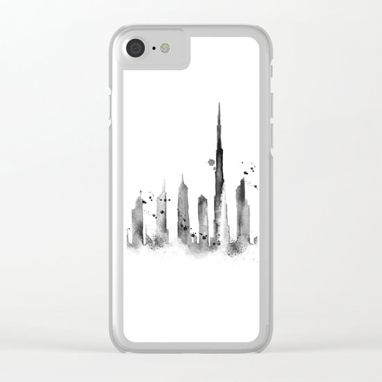 White Dubai Skyline Clear iPhone Case