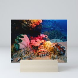 Tropical Undersea Coral Clam Seashells Mini Art Print