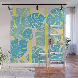 Linocut Monstera Neon Wall Mural