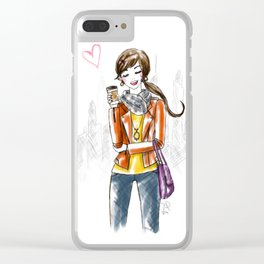 Coffee Girl Clear iPhone Case