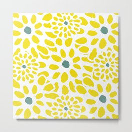 Flowers in Yellow Metal Print