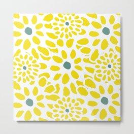 Flowers in Yellow Metal Print