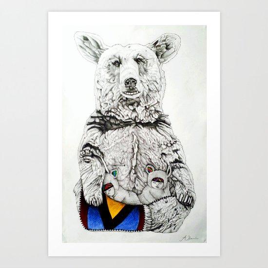 Bear hug // Pencil Art Print