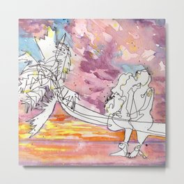 Kissing in a Palm Tree Metal Print