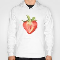 strawberry Hoodies featuring strawberry by Cindy Lepage