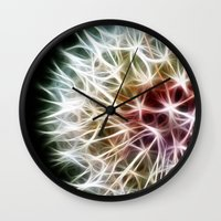 fractal Wall Clocks featuring Fractal dandelion by Mark Nelson