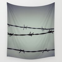 depression Wall Tapestries featuring Barbed Wire by Maria Heyens