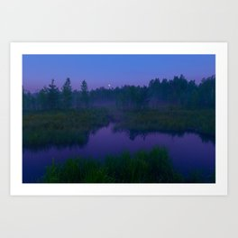 Moonlit Night on the forest river Art Print