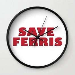 Save Ferris, 80s Movie Style Logo, Original Wall Clock
