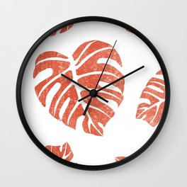 Terracotta Leaf - Monstera - Terracotta Abstract Print - Modern, Minimal, Contemporary Abstract Wall Clock