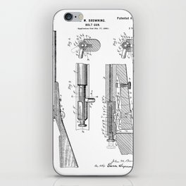 Bolt Action Rifle Patent - Browning Rifle Art - Black And White iPhone Skin