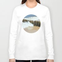 wooden Long Sleeve T-shirts featuring Wooden Breakwater by Pati Designs
