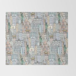 New York watercolor Throw Blanket