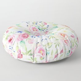 Blush pink watercolor elegant roses floral Floor Pillow