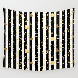 Stripes & Gold Splatter Wall Tapestry