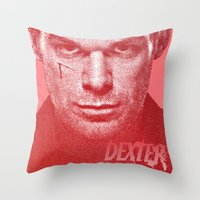 dexter Throw Pillows featuring DEXTER by Hands in the Sky