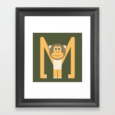 Letter M // Animal Alphabet // Monkey Framed Art Print