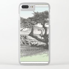 MONTEREY CYPRESS AND POINT LOBOS CALIFORNIA VINTAGE PEN DRAWING Clear iPhone Case