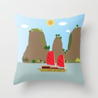 vietnam Throw Pillows featuring Vietnam View by Design4u Studio